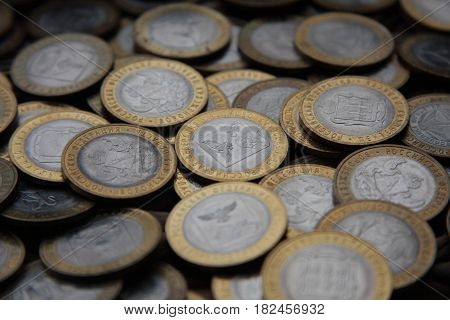 a handful of collectible bimetallic coins 10 rubles