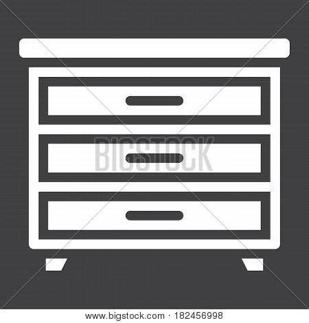 Drawer unit solid icon, Furniture and interior element, vector graphics, a filled pattern on a black background, eps 10.