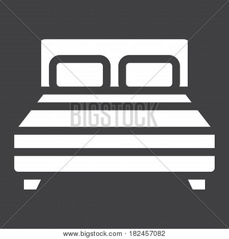 Double bed solid icon, Furniture and interior element, vector graphics, a filled pattern on a black background, eps 10.