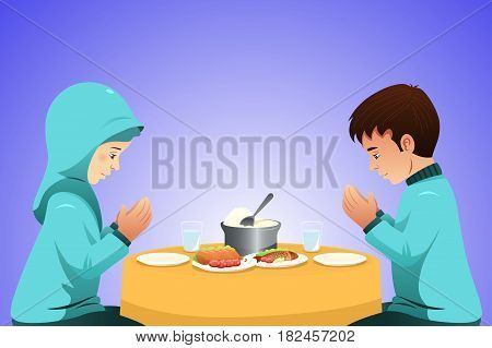A vector illustration of Muslim Couple Eating Before Meal