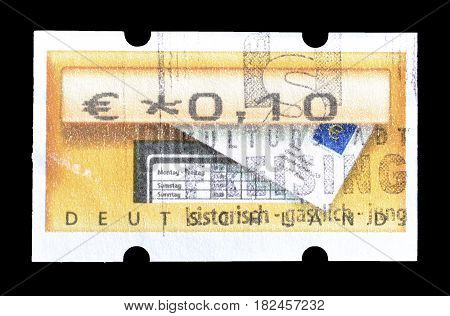 GERMANY - CIRCA 2002 : Cancelled postage stamp printed by Germany, that shows  ATM Machine.