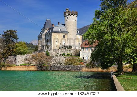 Duingt castle on the shores of Lake Annecy, France, Europe