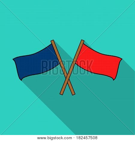 Red and blue flags icon in outline design isolated on white background. Paintball symbol stock vector illustration.