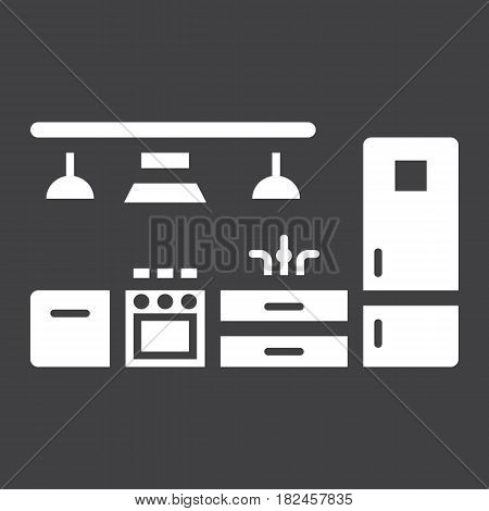 Kitchen furniture solid icon, Furniture and interior element, vector graphics, a filled pattern on a black background, eps 10.