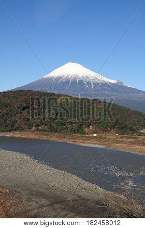 Fuji River And Mt. Fuji In Shizuoka, Japan