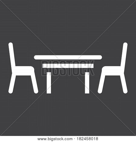 Dining table solid icon, Furniture and interior element, vector graphics, a filled pattern on a black background, eps 10.