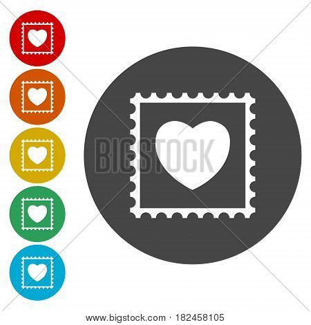 Vector post Stamp heart, simple vector icon