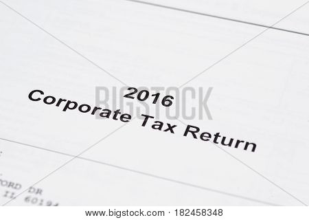 Corporate tax return for 2016 on white paper