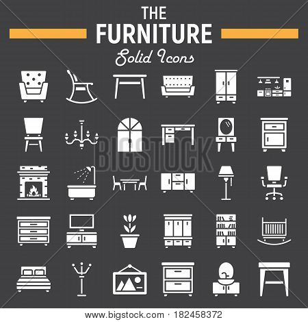 Furniture solid icon set, interior symbols collection, vector sketches, logo illustrations, filled pictograms package isolated on black background, eps 10.