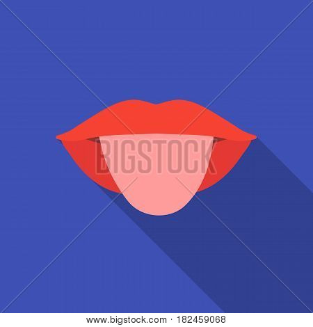 Tongue icon in flat style isolated on white background. Part of body symbol vector illustration.