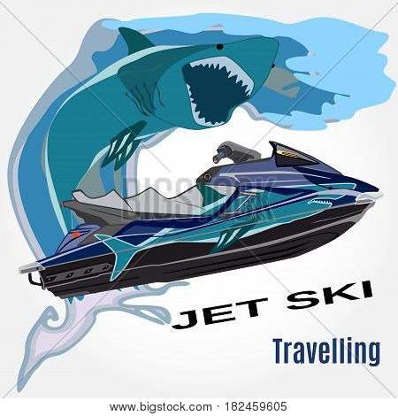 Vector illustration of water scooter waves and shark isolated. Jet ski rental template in flat style.