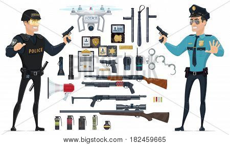Police elements collection with policemen weapons grenades batons speaker radio documentation handcuff flashlights quadrocopter isolated vector illustration