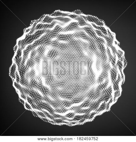 Abstract vector distorted monochrome sphere. Explosion of sphere with glowing particles. Futuristic technology style. Elegant grayscale background for business presentations.