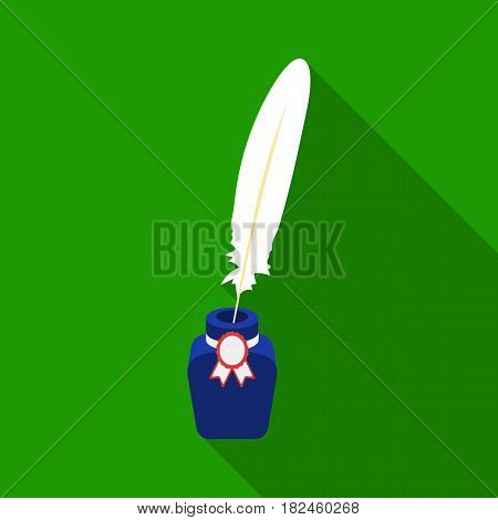 Quill in inkwell icon in flat style isolated on white background. Patriot day symbol stock vector illustration.