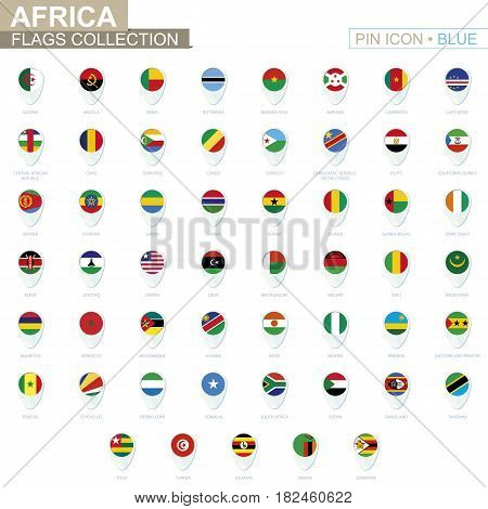 Africa Flags Collection. Big Set Of Blue Pin Icon With Flags.