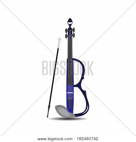 Vector illustration of violin isolated on white background. Electric violin with bow in flat style.