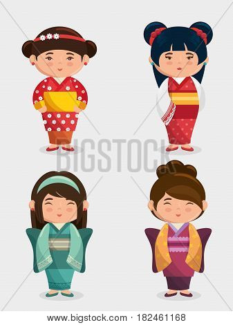 cute japanese girls group kawaii style vector illustration design