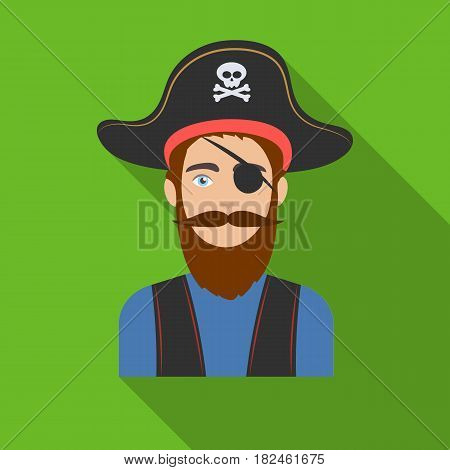 Pirate with eye patch icon in flat style isolated on white background. Pirates symbol vector illustration.