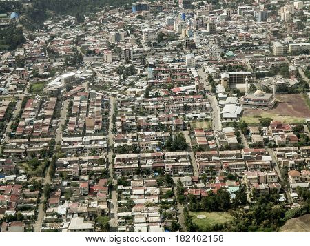 Aerial view of downtown Addis Ababa, Ethiopia