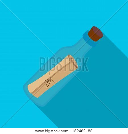 Message in the bottle icon in flat style isolated on white background. Pirates symbol vector illustration.