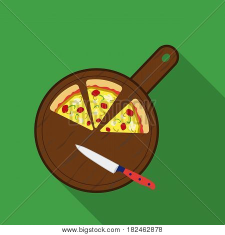 Pizza on cutting board icon in flat style isolated on white background. Pizza and pizzeria symbol vector illustration.