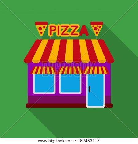 Pizzeria icon in flat style isolated on white background. Pizza and pizzeria symbol vector illustration.
