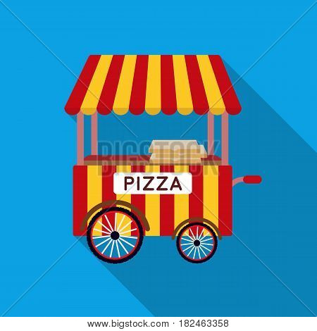 Pizza cart icon in flat style isolated on white background. Pizza and pizzeria symbol vector illustration.