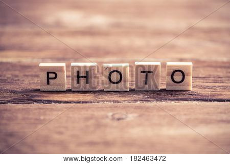 Word photo collected of wooden elements with the letters