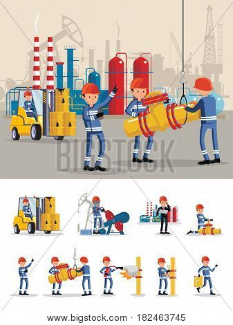 Oil industry characters concept with employees working on drilling rig transporting barrels extinguishing fire repairing pipe vector illustration