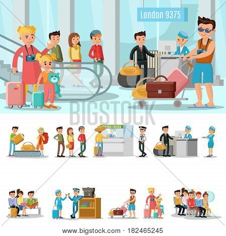 Airport elements concept with people passing customs security control waiting in lounge room and boarding on airplane vector illustration