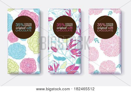 Vector Set Of Chocolate Bar Package Designs With Pink Blue Pastel Floral Patterns. Circle frame. Editable Packaging Template Collection. Packaging and Surface pattern design.