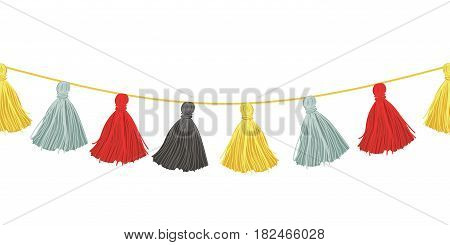 Vector Colorful Hanging Decorative Tassels With Ropes Horizontal Seamless Repeat Border Pattern. Great for handmade cards, invitations, wallpaper, packaging, nursery designs. Surface pattern design.
