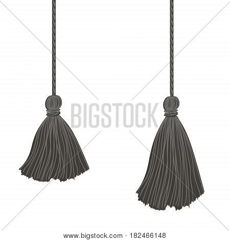 Vector Set of Two Black Hanging Decorative Tassels With Ropes. Great for graduation cards, invitations, hats, mockups, grad party designs. Decor element.