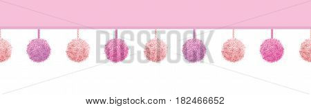 Vector Baby Girl Pink Decorative Pompoms With Ropes Horizontal Seamless Repeat Border Pattern. Great for nursery room, handmade cards, invitations, wallpaper, packaging, baby girl designs. Surface pattern design.
