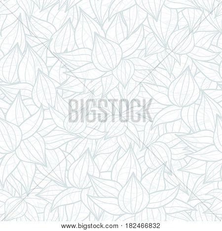 Vector light grey succulent plant texture drawing seamless pattern background. Great for subtle, botanical, modern backgrounds, fabric, scrapbooking, packaging, invitations. Repeat pattern design.
