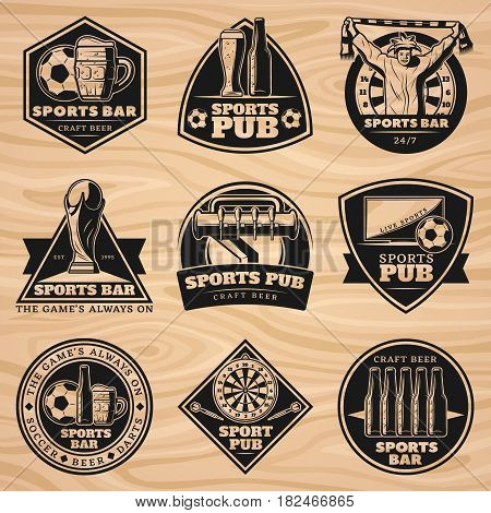 Black vintage sport bar labels set with equipment fan and beer elements on wooden background isolated vector illustration