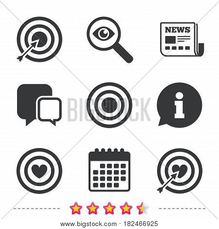 Target aim icons. Darts board with heart and arrow signs symbols. Newspaper, information and calendar icons. Investigate magnifier, chat symbol. Vector