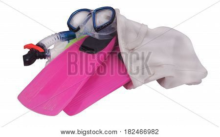 beach bag with fins and swimming mask isolated on white background