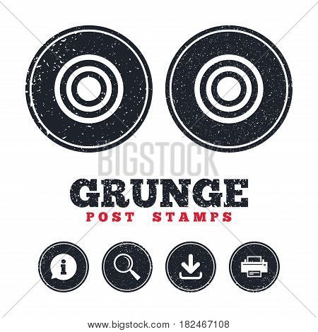 Grunge post stamps. Target aim sign icon. Darts board symbol. Information, download and printer signs. Aged texture web buttons. Vector