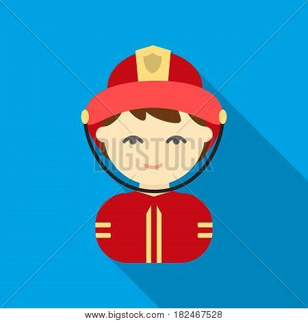 Fireman flat icon. Illustration for web and mobile.