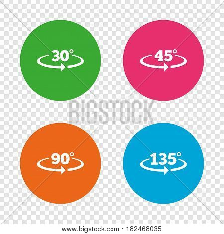 Angle 30-135 degrees icons. Geometry math signs symbols. Full complete rotation arrow. Round buttons on transparent background. Vector