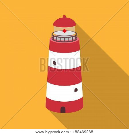 Lighthouse icon in flat design isolated on white background. Rest and travel symbol stock vector illustration.