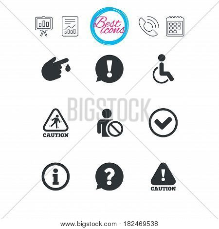Presentation, report and calendar signs. Caution and attention icons. Question mark and information signs. Injury and disabled person symbols. Classic simple flat web icons. Vector