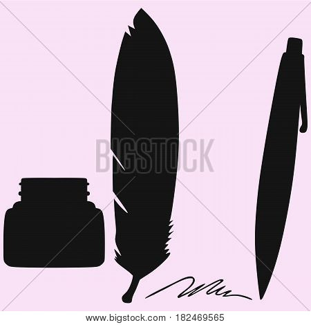 inkwell, feather, pen, vector silhouette isolated on background