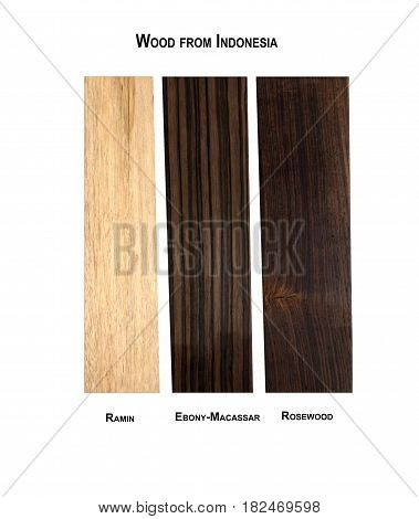 Wood samples from Indonesia, Ramin, Ebony-Macassar and Rosewood