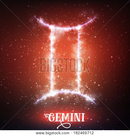 Vector abstract zodiac sign Gemini on a dark red background of the space with shining stars. Nebula in form of zodiac sign Gemini. Abstract glowing zodiac sign Gemini, The Twins greek:Didymoi