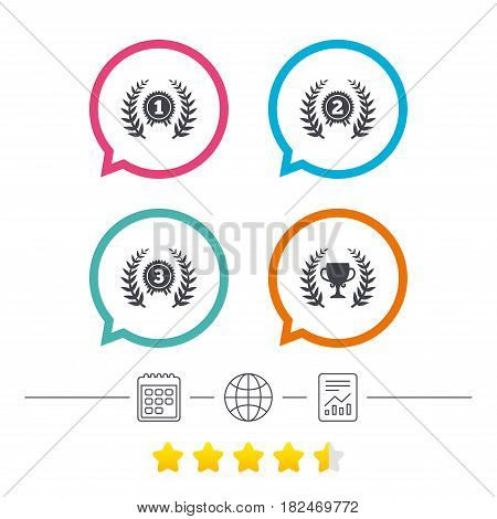 Laurel wreath award icons. Prize cup for winner signs. First, second and third place medals symbols. Calendar, internet globe and report linear icons. Star vote ranking. Vector