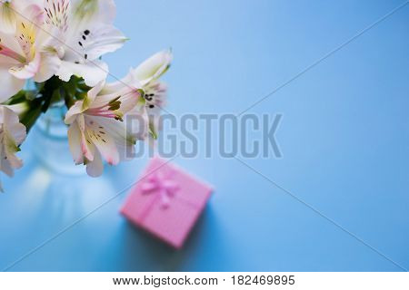 Beautiful Tender Bouquet Of Alstroemeria With Pink Gift Box