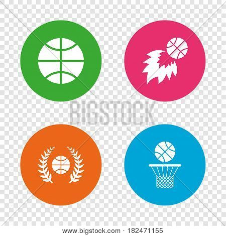 Basketball sport icons. Ball with basket and fireball signs. Laurel wreath symbol. Round buttons on transparent background. Vector
