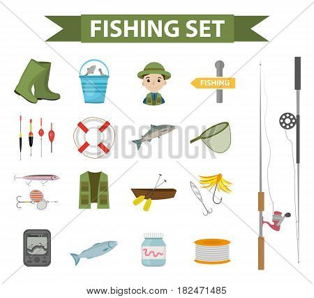 Fishing icon set, flat, cartoon style. Fishery collection objects, design elements, isolated on white background. Fisherman s tools with a fishing rod, tackle, bait, boat. Vector ilustration, clip-art